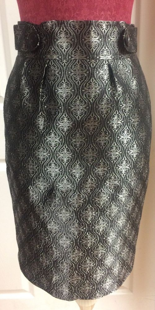 Harold's Vintage Metallic Silver & Black Floral Pencil Skirt Sz 2 Career Dressy  #Harolds #StraightPencil