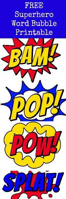 #superhero word bubbles 3 free printable