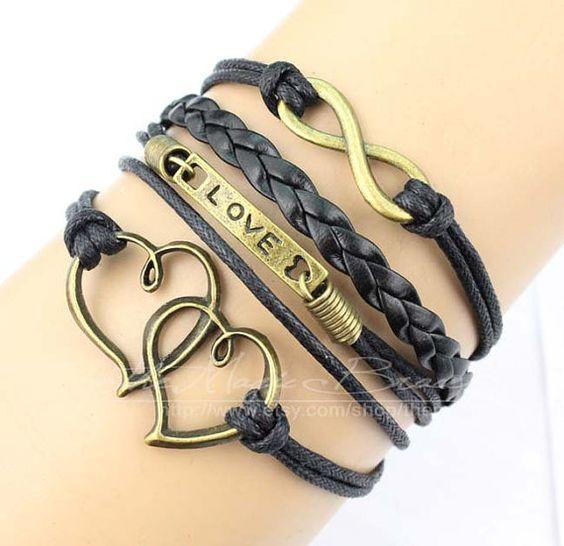 Infinity love & heart charm bracelet in silver by themagicbracelet, $4.99