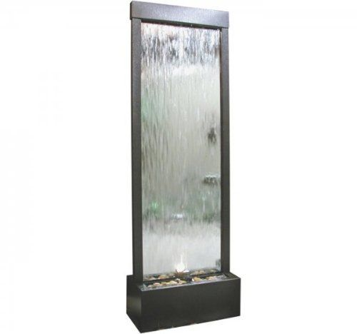 Mirror Waterfall with Stones/Light Decor Silver - Wish to illuminate your backyard or highlight a well designed landscape? Browse through our collection to find the ideal lighting to emphasize your favorite space. http://beautifulwaterfountains.com/mirror-waterfall-with-stoneslight-decor-silver/