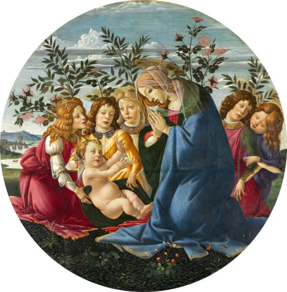 """Madonna Adoring the Child with Five Angels"" by Sandro Botticelli, 1485-1490"