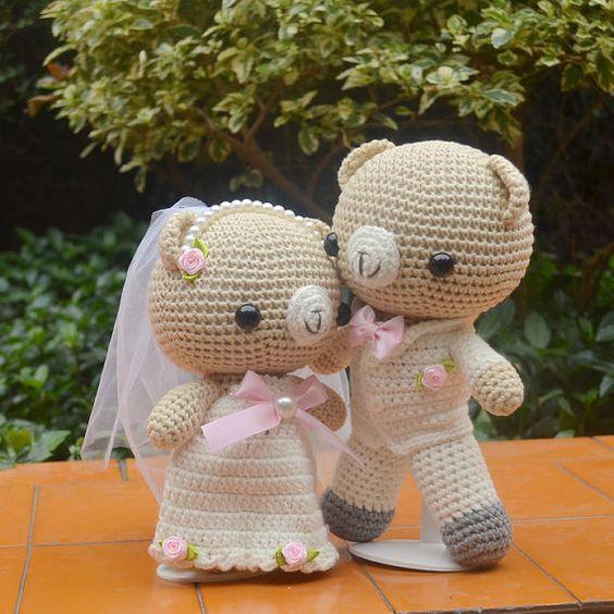 Handmade yarn teddy wedding bear a pair of lovers by GansilyoStore, $150.00