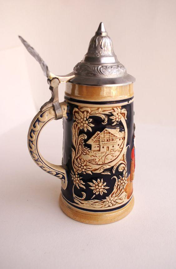 Collectable Ceramic German Beer Stein Mug with Pewter Lid. Etsy.