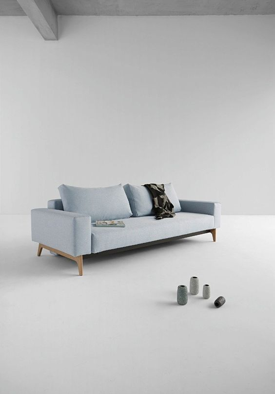 IDUN canapé design bleu soft icy convertible lit 200*140 cm