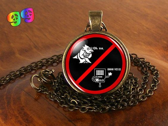 Undertale Alphys & Mettaton Gaming Necklace Chain & Pendant Charm Jewelry