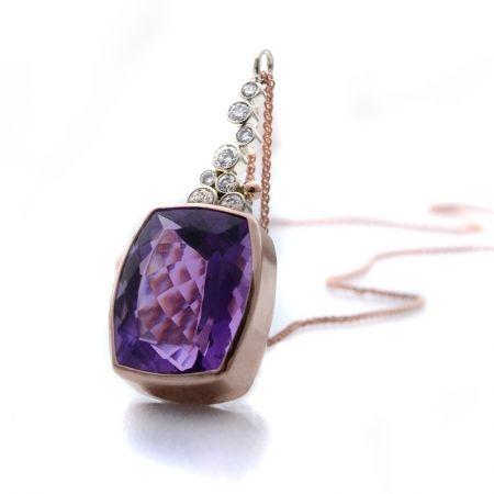 blue by susan west. modern design and timeless luxury. #amethyst #purplewedding #rosegold #pendant #necklace #conflictfree #oneofakind#bluebysusanwest #susanwest