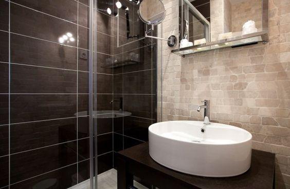 Salle de bain r alis e avec pierre de turquie salle de - Salle de bain chocolat et blanc ...