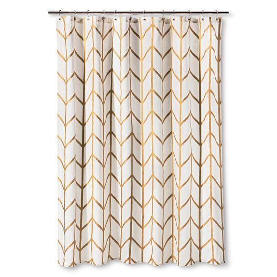 Shower Curtain Gold Ikat Threshold Hooks Gold Chevron And Home Decor
