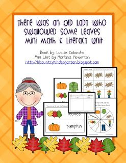 Lil Country Librarian: There Was an Old Lady Who Swallowed Some Leaves Mini Math and Literacy Unit