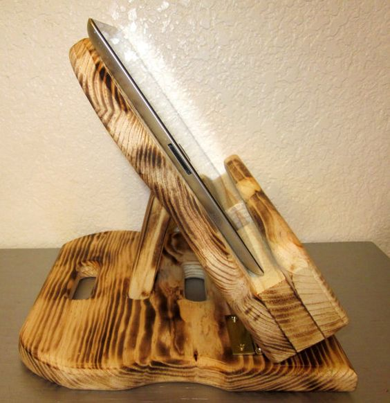 Burnt+wooden+kindle+fire+stand+and+docking+station+by+Inxyle,+$39.99