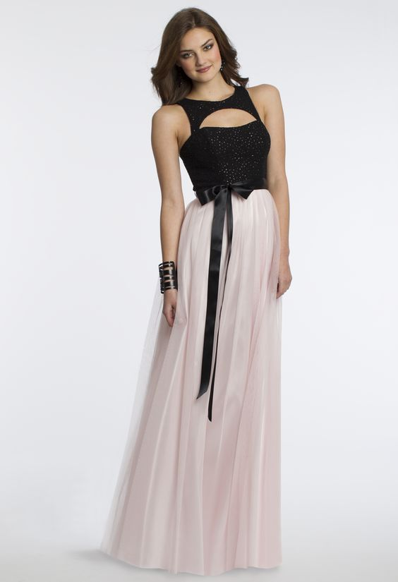 Camille La Vie Glitter Boucle Prom Party Dress in Pink and Black