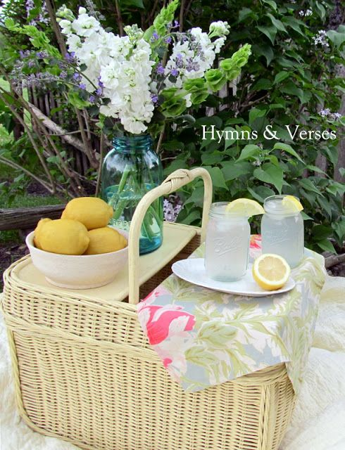 Vintage Yellow Picnic Basket