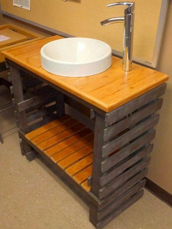 Muebles de Palets: Fantástico lavamanos para el baño hecho de ...