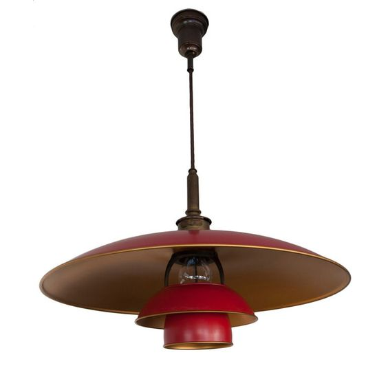 "Denmark. Poul Henningsen ""8/6"" red & gold flake painted copper, bronzed brass, bronze pendant lamp. 1929."