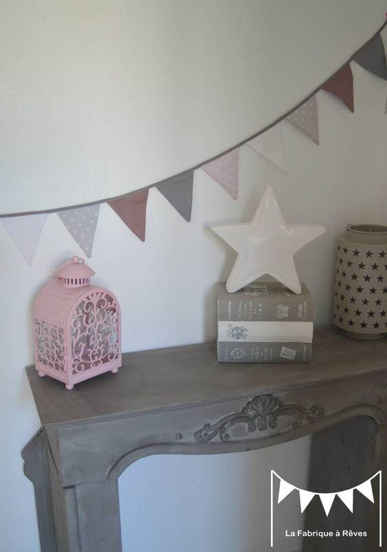 sur commande banderole guirlande fanions vieux rose blanc gris rose poudr dcoration pour enfants - Guirlande Fanion Chambre Bebe