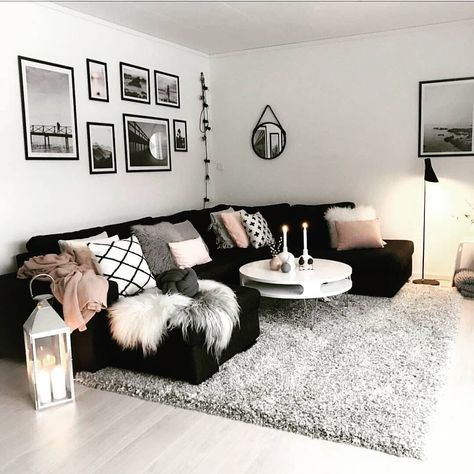 39 Trendy Bedroom Pink Black Grey Colour Schemes Living Room Decor Apartment Apartment Decorating Living Living Room Sectional
