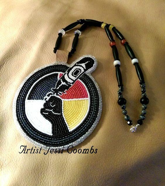 Beaded custom 'Idle No More' medallion I made as a part of a set for a friend