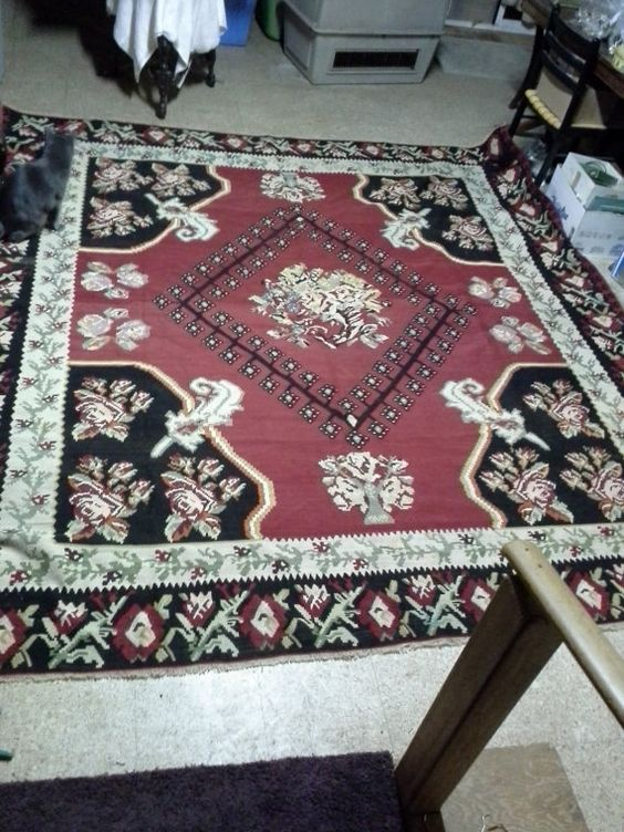 "Vintage Gocmen Killim wool rug 111"" x 116"" in excellent shape, approximately 60 years old, Fabulous!"