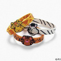 """12 Safari Zoo Animal Bracelets by OTC. $10.99. Rubber Zoo Animal Bracelets. Assorted styles. 8"""" Each is individually packaged. Giraffes, zebras, and tigers."""