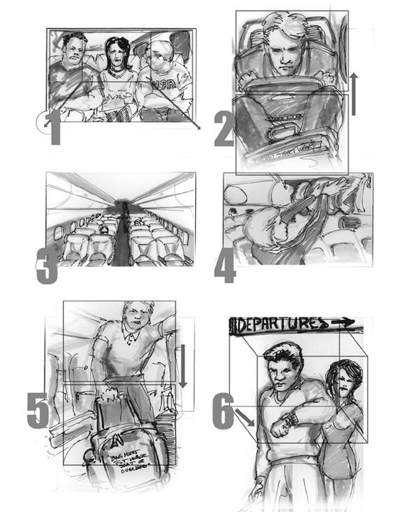 Shot set from commercial for Embraer aircraft StoryBoards - commercial storyboards
