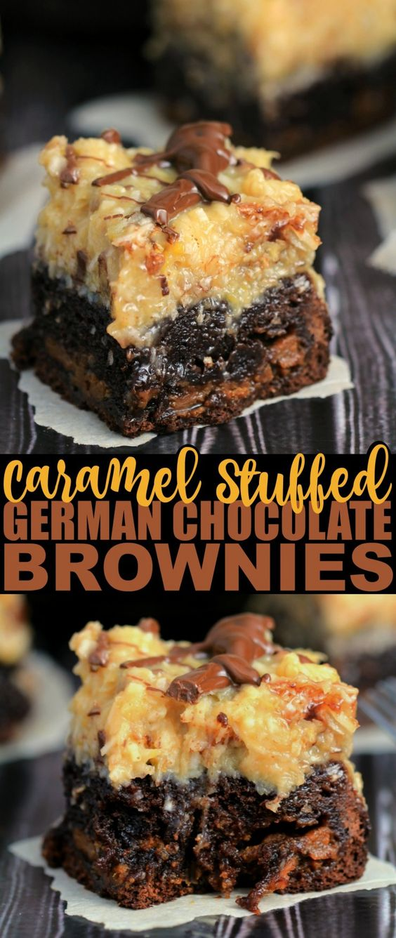 These Caramel Stuffed German Chocolate Brownies are a decadent dessert inspired by German Chocolate Cake with a surprise twist that sets them apart from any other brownie you have ever baked before!