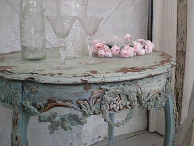 blue grey console rough luxe - shabby chic decor