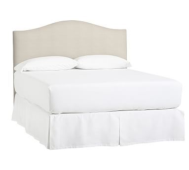 Raleigh Upholstered Camelback Queen Low Headboard without Nailheads, Sunbrella(R) Performance Sahara Weave Ivory