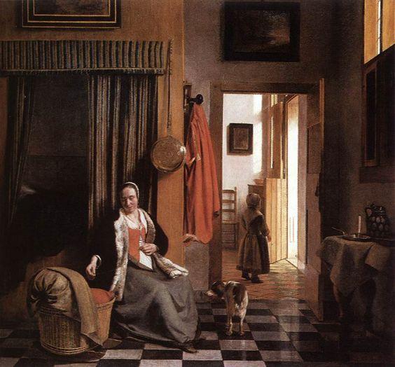 Pieter-De-Hooch-mother-lacing-her-bodice-beside-a-cradle.jpg (947×880)