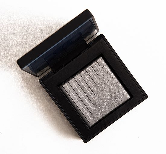 "NARS Lysithea Dual Intensity Eyeshadow. This is a very shimmery ""shark grey"" that's mostly cool with a hint of warmth. A new favorite."