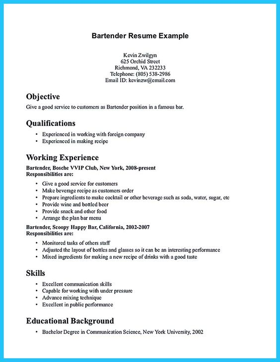 Examples Of Bartending Resumes Bartender Resume Samples Awesome