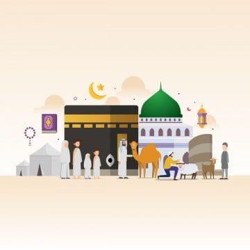 Eid Adha Mubarak With Tiny People Character Design Concept Hajj And Umrah Season Saudi Arabia National Day Hajj Umrah Flat Png And Vector With Transparent Ba Eid Adha Mubarak Eid Images