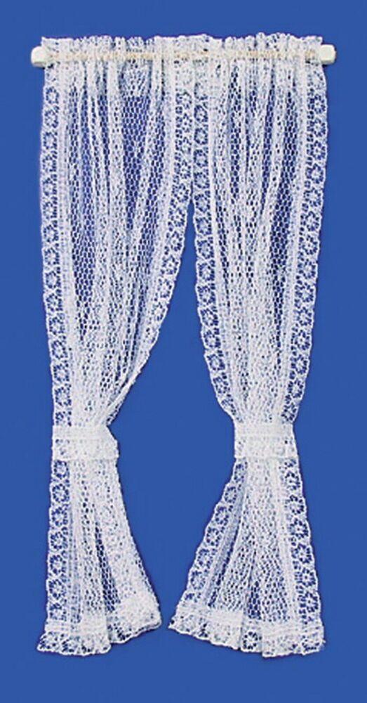 Dollhouse Miniature White Lace Curtains