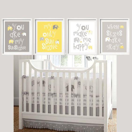 Kids Wall Art Yellow And Gray Nursery Decor Elephant