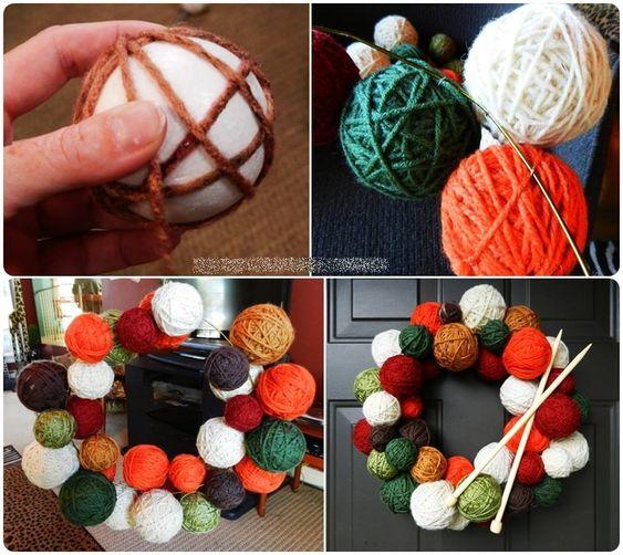 Yarn Ball Wreath Tutorial: