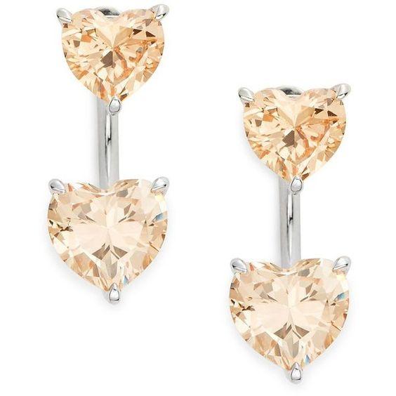 Nadri Faceted  Heart Earrings ($50) ❤ liked on Polyvore featuring jewelry, earrings, citrine, heart shaped jewelry, silver tone earrings, wrap earrings, post earrings and heart shaped earrings