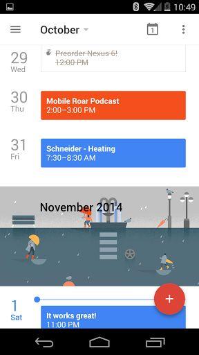 Google Calendar material design screenshots