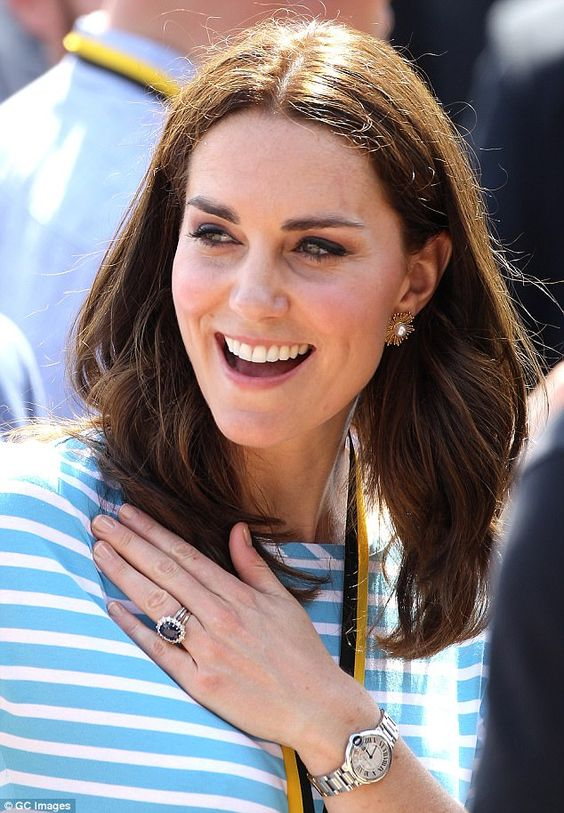The Duchess of Cambridge was photographed wearing a £300,000 Garrard ring and Cartier watch in Heidelberg, Germany, in July this year