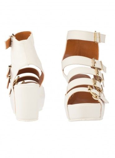 As If! Buckle Strap Platforms White