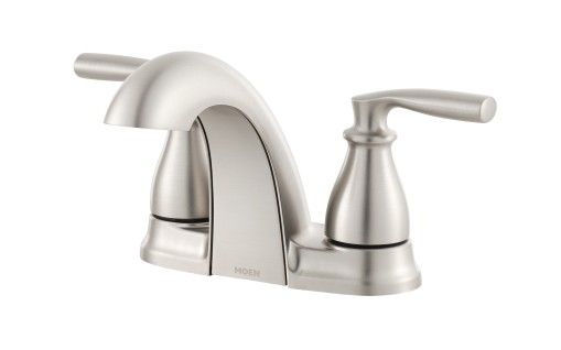 Hilliard Spot Resist Brushed Nickel Two Handle Low Arc Bathroom