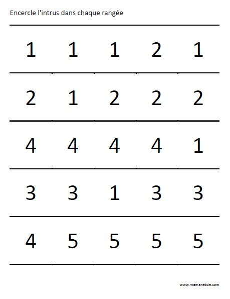 Encercle l'intrus dans chaque rangée - Activité à imprimer - prescolaire