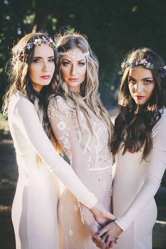 Boho bridesmaids | SouthBound Bride | http://www.southboundbride.com/bohemian-glamour-wedding-at-the-glades-by-fiona-clair-jean-brett | Credit: Fiona Clair