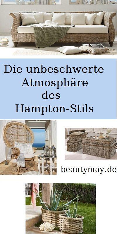 Glamouröser Glanz  Der Hamptons-Stil ist eine Kombination aus Spiel und Stil. Die unbeschwerte Atmosphäre und idyllische Architektur suchen ihresgleichen. Besonders wichtig sind daher Elemente, die Urlaubsfeeling vermitteln. So machen sich Körbe und Weidengeflechte sehr gut. Einen einzigartigen Charakter verleihen Loungemöbel aus Naturweide. Eine gläserne Tischplatte offenbart den Blick auf verborgene Schätze, unter denen sich Sand, Kies, Muscheln und Seesterne verstecken.