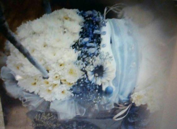 Detailed pram cover.fresh flowers .designed created flower house.
