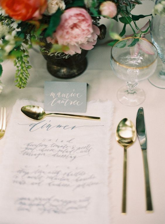linen dinner menu, Photography by ryleehitchnerblog.com/, Creative Direction, Styling   Design by jessicasloane.com, Floral Design by amyosaba.com