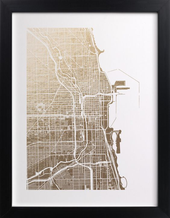 Gold foil-stamped wall art - Chicago. Click to see 'Chicago Map' on Minted.com