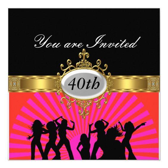 Disco  Black  Birthday Party Glamour Invitation