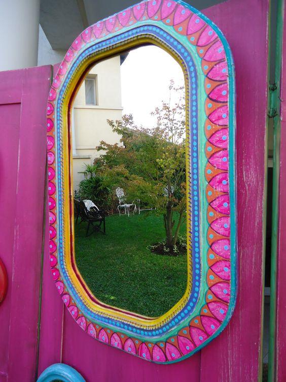 Espejo antiguo pintado a mano vintouch interviniendo - Muebles decorados a mano ...