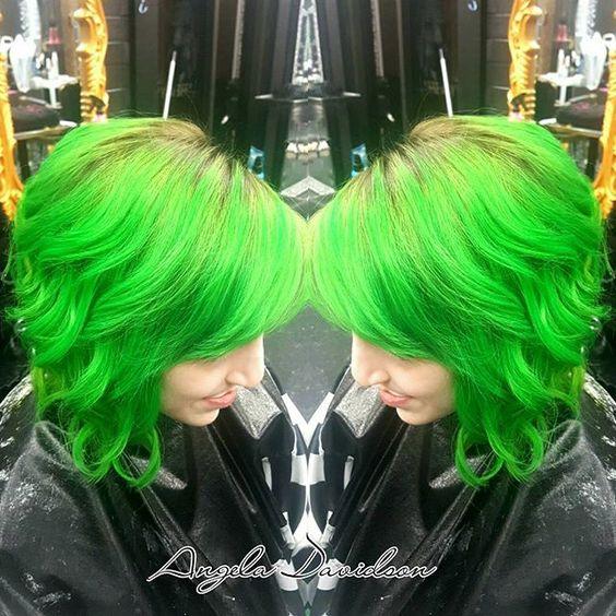Neon green with a dark ashy shadow root to ease her growout! Had so much fun creating this color! #Angeladoeshair #shampoodollssalon #greenhair #olaplex #pravana #pravanavivids #shadowroot #punkrock