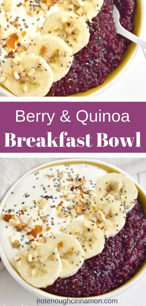 Berry Quinoa Breakfast Bowl (Gluten-free & Dairy-free) | Quinoa for breakfast? Absolutely! In this healthy Vegan Quinoa Breakfast Bowl, the superfood gets a sweet and fruity treatment by simmering with frozen mixed berries, almond milk, vanilla, cinnamon, and maple syrup! #cleaneatingrecipes, #veganbreakfastrecipes