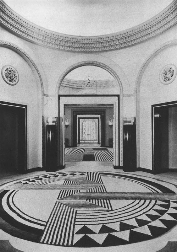 Lobby of Claridges Hotel London c. 1935. Designer Guy Oliver refurbished the art deco icon in 2011 maintaining the historical integrity of the famous ballroom.